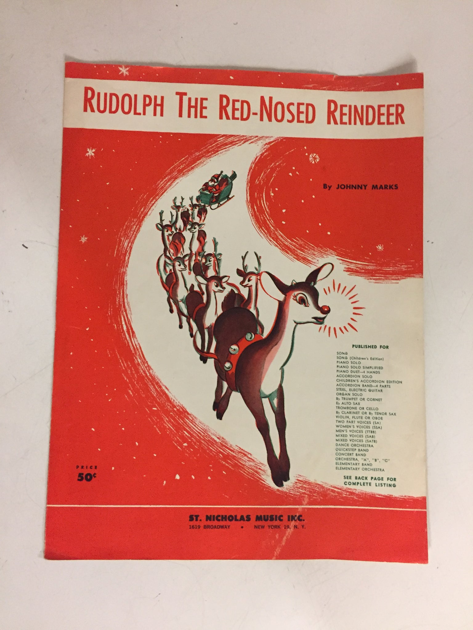 Vintage 1949 St Nicholas Music Rudolph the Red-Nosed Reindeer Sheet Music