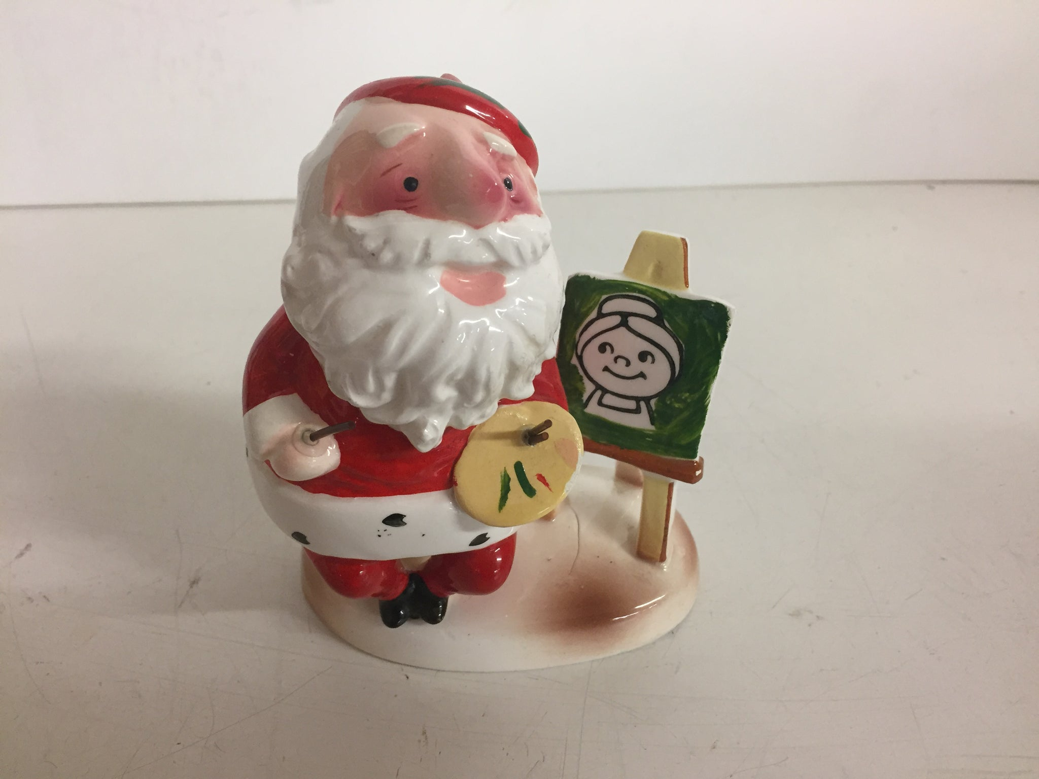 Vintage 1980's Enesco Artistic Santa Clause Ceramic Figurine Painting Christmas Holiday