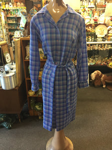 Vintage 1980's Purple Checkered House Dress by Ramsay Of Dublin