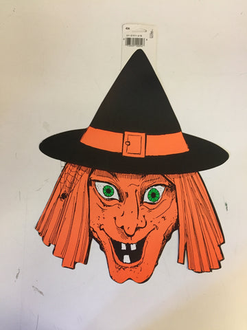 Vintage 1970's 80's Wicked Witch Halloween Window / Wall Decor by CA Reed