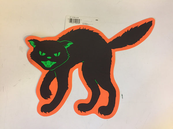 Vintage 1970's 80's Hunched Back Cat Halloween Window / Wall Decor by CA Reed
