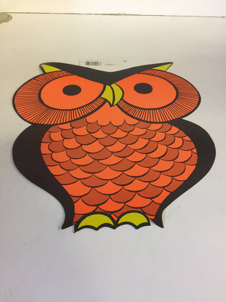 Vintage 1970's 80's Big Eyed OWL Halloween Window / Wall Decor by CA Reed