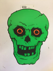 Vintage 1970's 80's Green Skeleton W/ Orange Eyes Halloween Window / Wall Decor by CA Reed