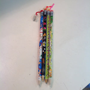 Vintage Assorted Souvenir Jumbo Pencils Set of Four Alien Powerpuff Girls Holiday Sheep