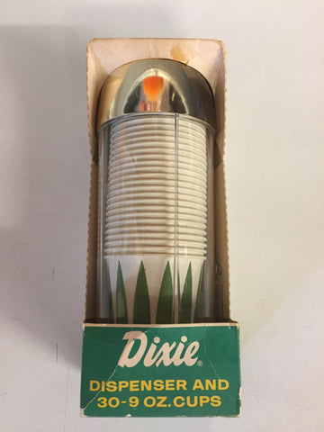 Vintage Dixie Kitchen Beverage Dispenser W/ 30 9 oz Paper Cups NOS Unused