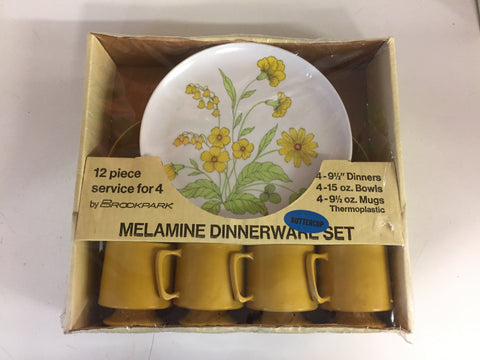 Vintage 12 Piece Melamine Dinnerware Set Service 4 Floral Yellow NOS Unused