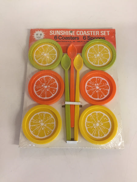 Vintage Sunshine Coaster Set NOS Unused 6 coasters 6 spoons Oranges