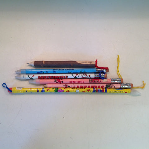 Vintage Assortment Jumbo Pencils and Wooden Pen Southern States Set of Six