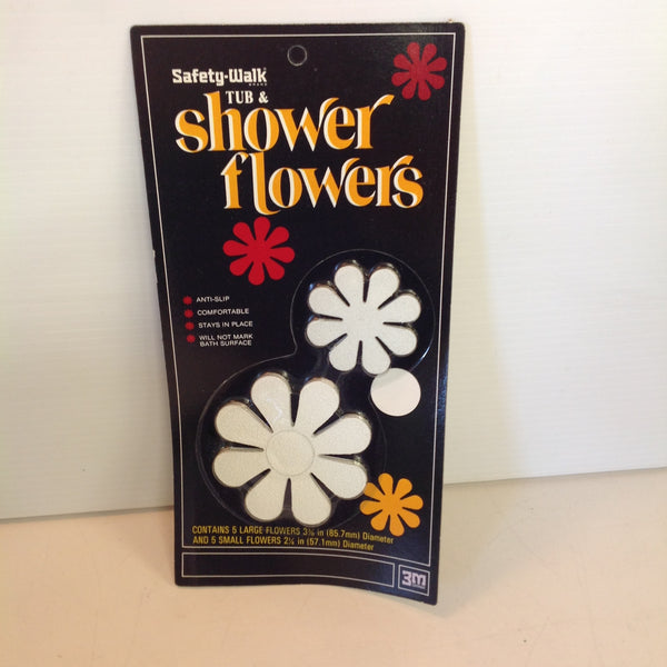 Vintage 1972 NOS Safety-Walk Tub & Shower Flowers Set of 10 Anti-Slip White