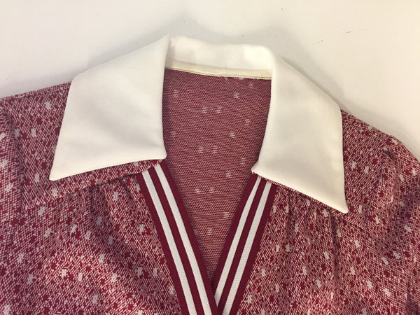 Vintage 1970's Red & White Wrap Flair Dress Button Facade