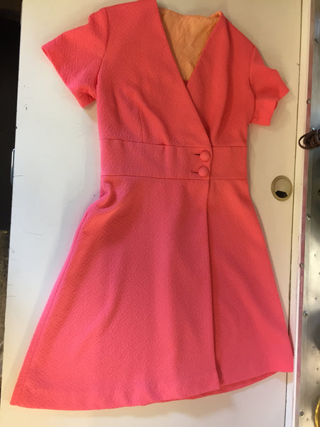 Vintage 1960's 1970's Bright Pink Mini Dress Double Button Waist