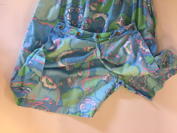 Vintage 1980's Multi Color Sleeveless Romper Shorts Bodysuit