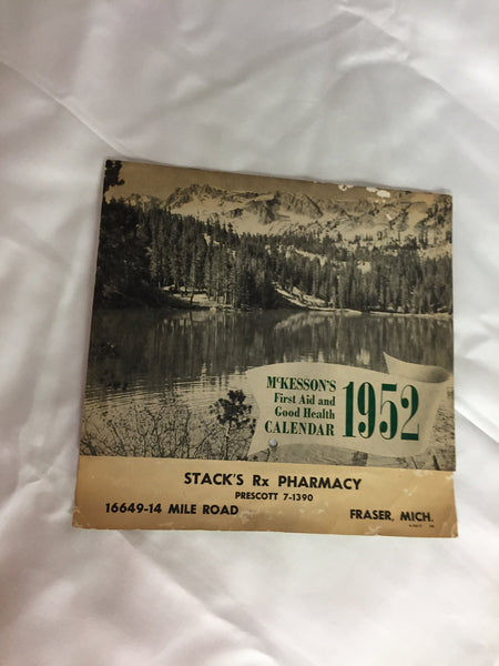 Vintage 1952 Stack's Rx Pharmacy Advertising Calendar First Aid & Good Health