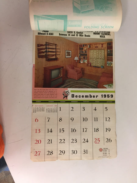 Vintage 1959 John's Lumber And Hardware Advertising Calendar Mount Clemens Michigan