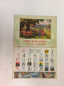 Vintage 1954 Farmers Milling Company Advertising Calendar Mt Clemens Michigan