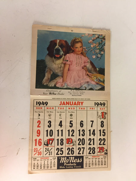 Vintage 1949 McNess Products Advertising Calendar Mt Clemens Michigan