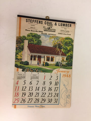 Vintage 1948 Steffens Coal & Lumber Advertising Calendar Fraser Michigan