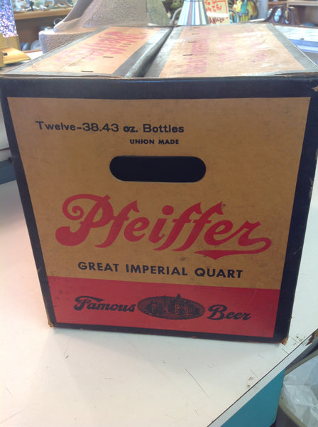 Vintage Pfeiffer Beer Great Imperial Quart Union Made 12 Bottle Case Cardboard Box