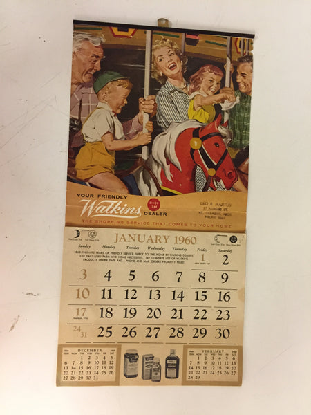 Vintage 1960 WATKINS Products Advertising Calendar Mt. Clemens Michigan.