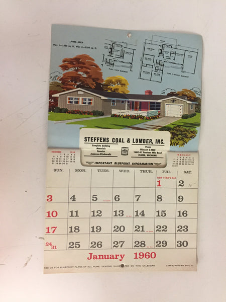 Vintage 1960 STEFFENS COAL & LUMBER CO. Advertising Calendar Home Designs Holiday