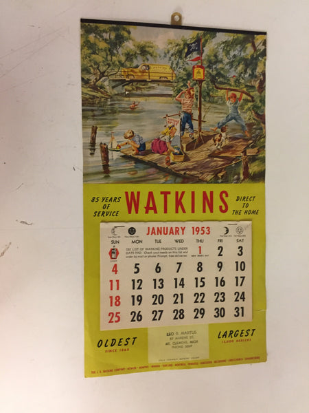 Vintage 1953 WATKINS Products Advertising Calendar Mt. Clemens Michigan