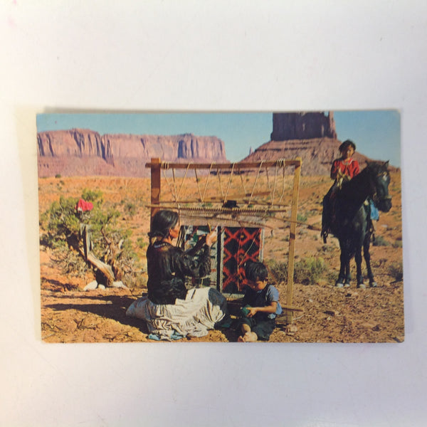Vintage 1975 Color Postcard Rug Weaving Navajo Reservation Monument Valley Border Utah-Arizona