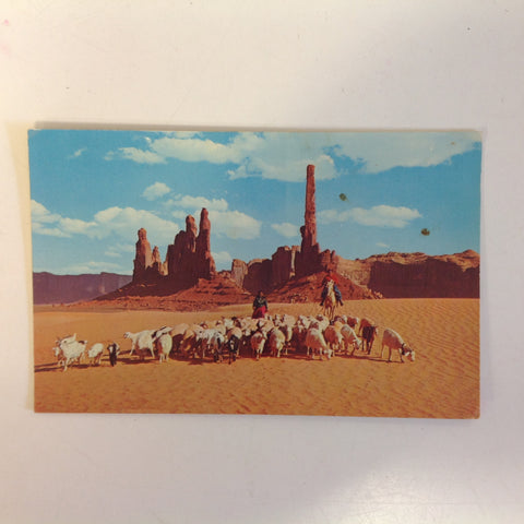 Vintage 1975 Color Postcard Yei Bichai Totem Pole Navajo Women Taking Their Sheep To Water In Beautiful Monument Valley Arizona