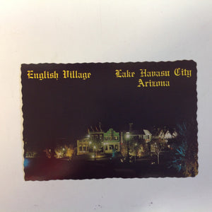 Vintage Petley Scalloped Edge Color Postcard Nighttime City of London Arms English Village Lake Havasu City Arizona