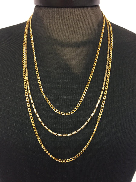 Vintage 1970's Designer Direction One Triple Chain Goldtone Necklace