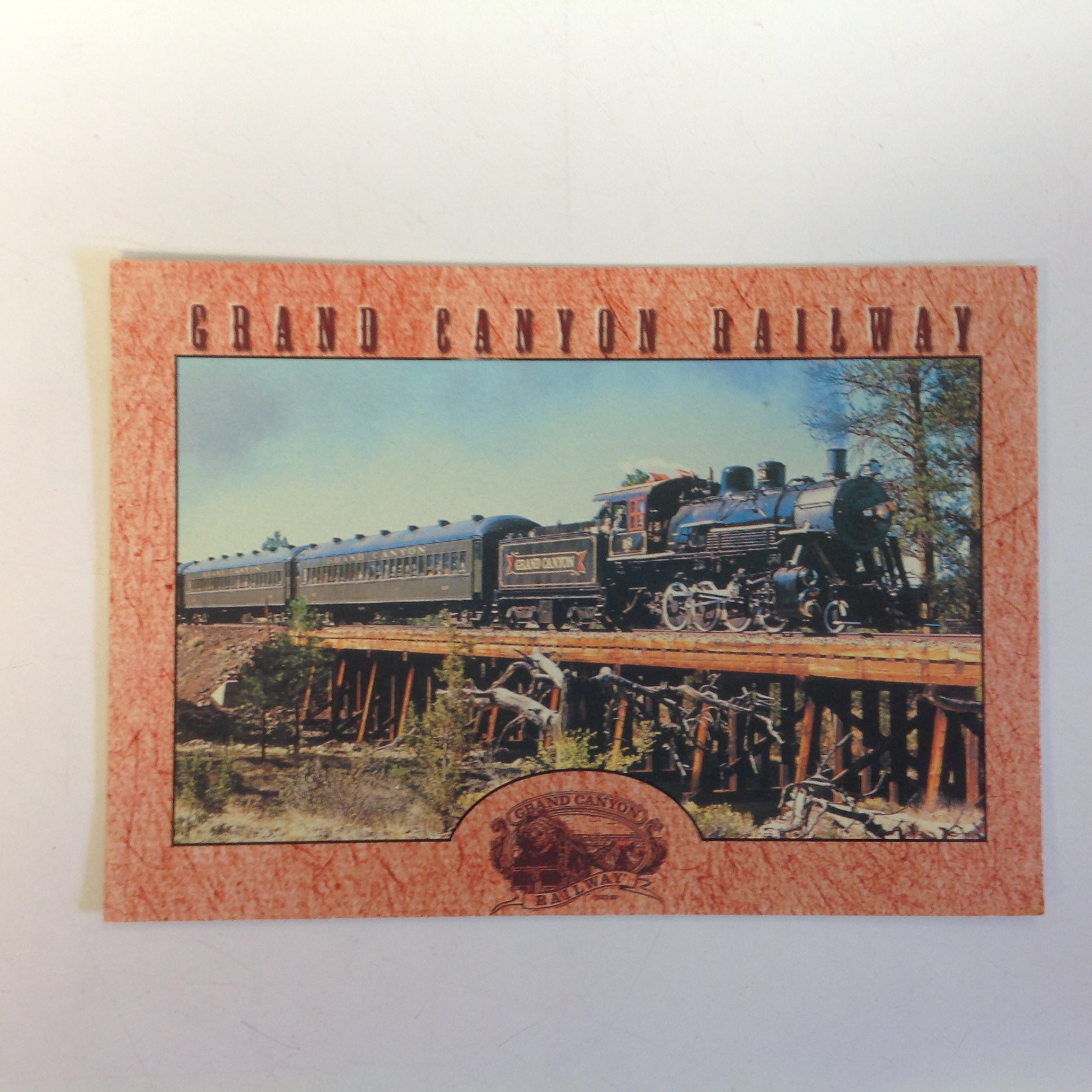 Vintage Terrell Publishing Color Postcard Al Richmond Photo Grand Canyon Railway Traverses Bridge Across Gulch Williams Arizona