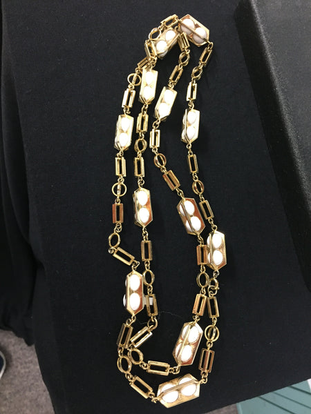 Vintage 1980's Goldtone Link Necklace White Plastic Boxed Balls Unsigned