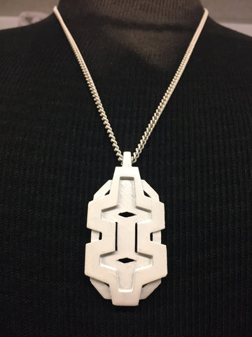Vintage 1970's All White Abstract Pendant Necklace Unsigned Great Movement