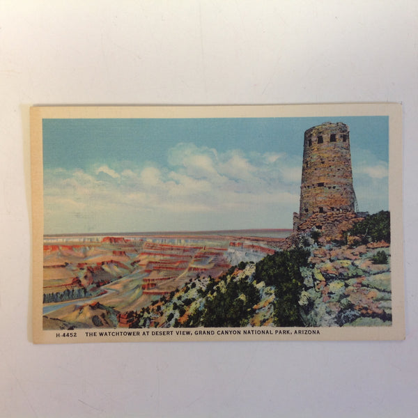 Vintage Mid Century Fred Harvey Color Postcard Watchtower at Desert View Grand Canyon National Park Arizona