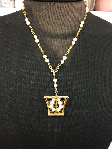 Vintage Goldtone Faux Pearl Caged Pendant Necklace Statement Piece