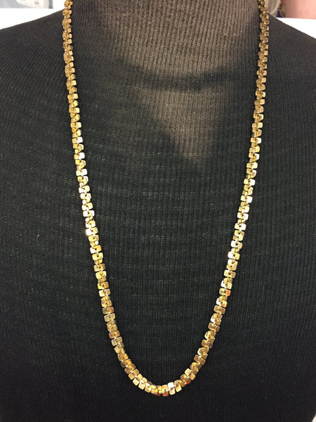 Vintage All Shiny Goldtone Cris Cross Chain Necklace Retro Unisex Unsigned