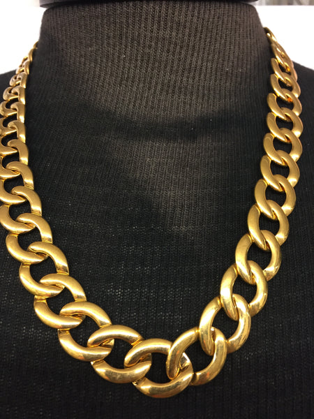 Vintage Designer Napier All Goldtone Large Link Collar Statement Necklace