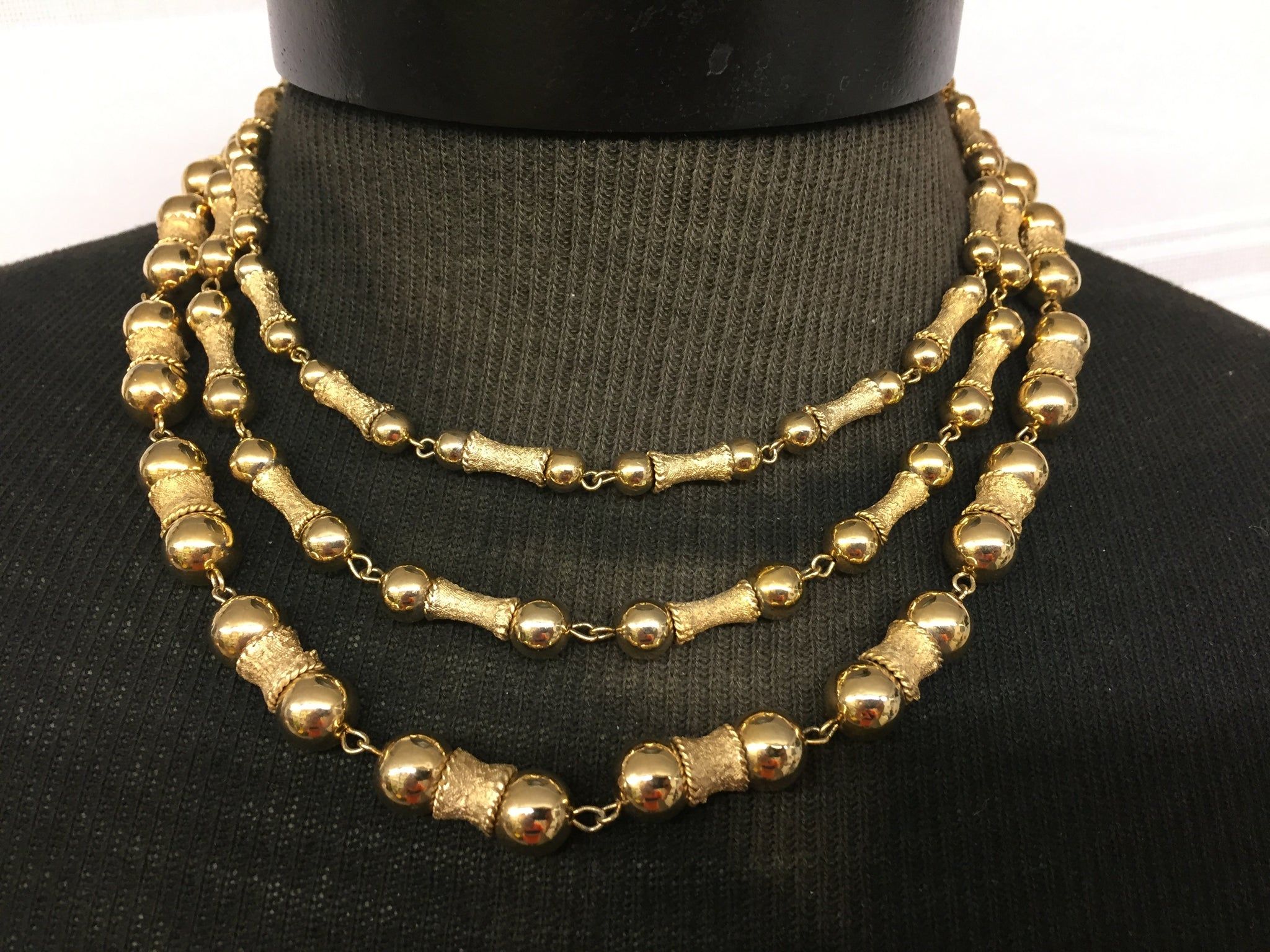 Vintage All Goldtone Beaded Triple Strand Necklace Holiday Statement