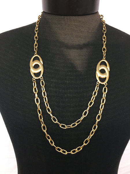 Vintage All Goldtone Double Chain Statement Necklace Unsigned 1980's