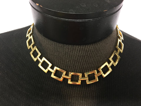 Vintage All Goldtone Square Link Collar Necklace Statement Unsigned