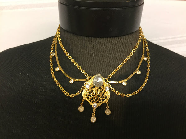 Vintage Goldtone Clear Rhinestone Victorian Style Statement Necklace Unsigned