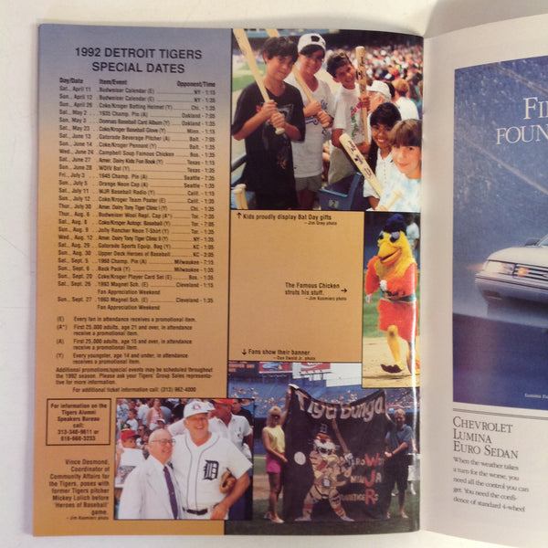 Vintage Official 1992 Detroit Tigers Baseball Yearbook