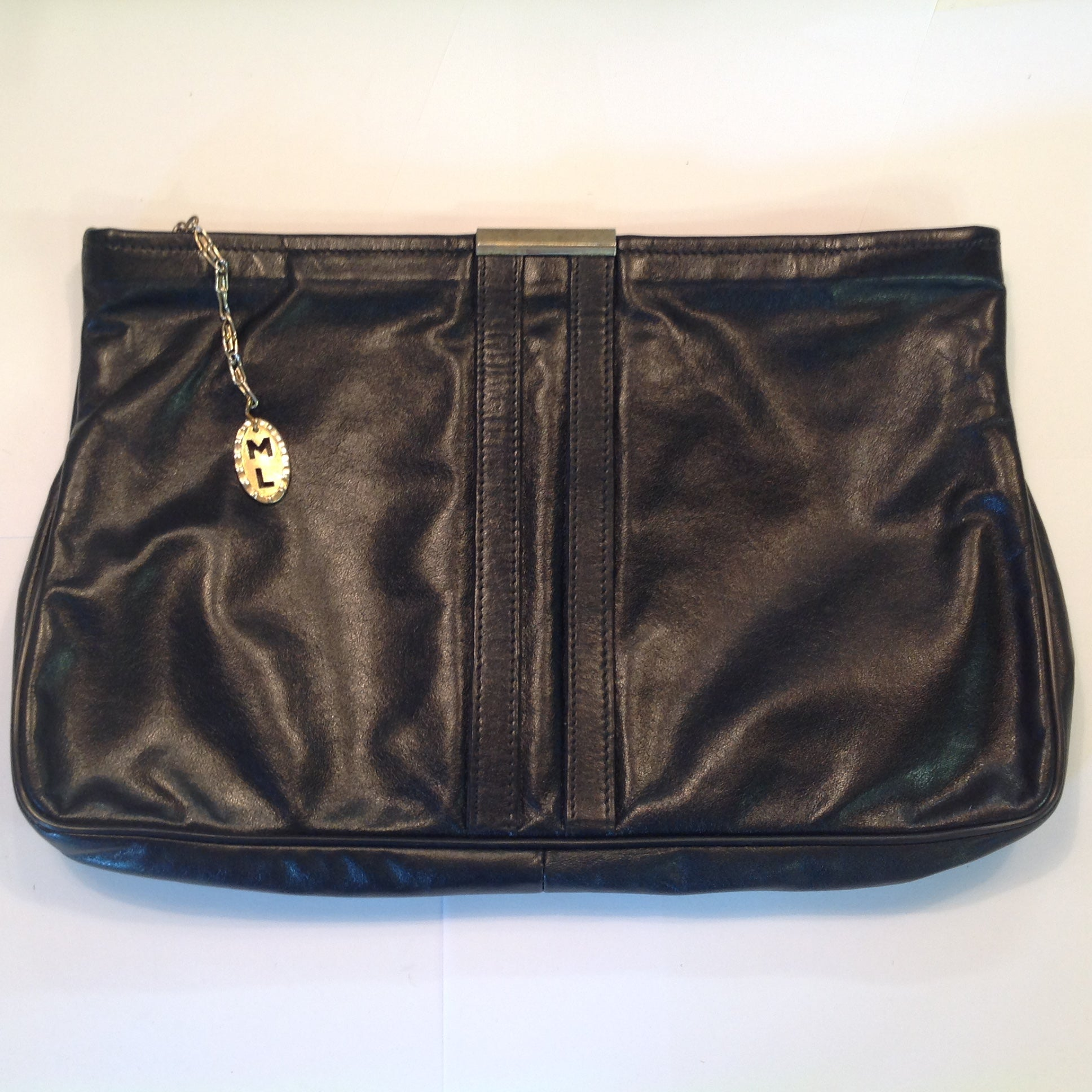 Vintage 1990's Black Vinyl Clutch Purse Goldtone Clasp ML Tag