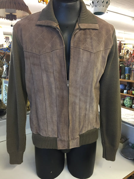 Vintage 1970's Olga Cassini By Burma Men's Brown Suede Leather & Acrylic Jacket
