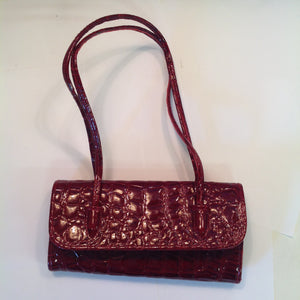 Vintage Red Vinyl Faux Alligator Handbag with Hand Straps Snap Clasp