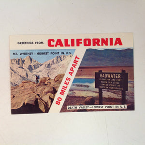 Vintage Colourpicture Plastichrome Color Souvenir Postcard Mt Whitney Highest Point in US Death Valley Lowest Point in US Greetings from California