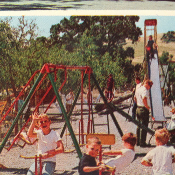 Vintage International Graphics Color Postcard Casa de Fruta Fruit Stand Swingset Playground Santa Clara Valley Fresno Gilroy California