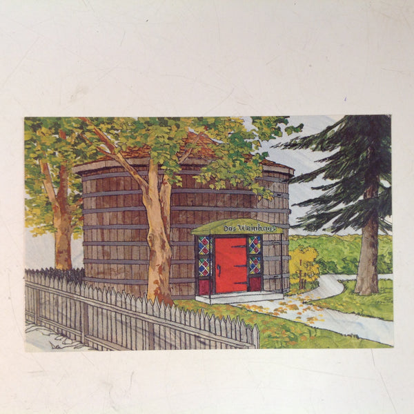 Vintage Mike Roberts Co Souvenir Color Postcard Royal Host Cellars Das Weinhaus Wine Tasting Room Watercolor Painting Lodi California