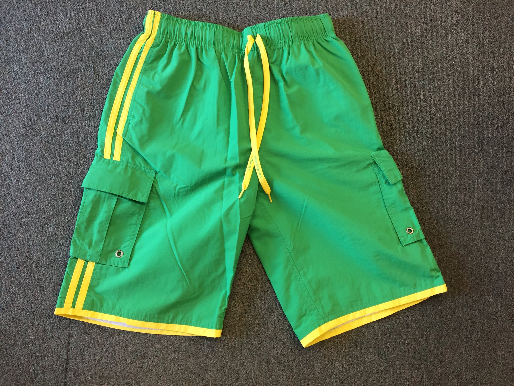 Vintage 1990's U.S. Polo Assn Bright Green Swim Trunks Retro