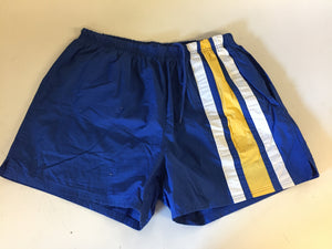 Vintage 1980's Lands End Swim Trunks Blue Yellow Stripe Retro