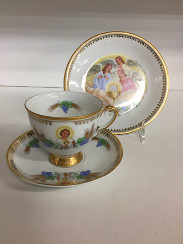 Vintage Religious 3 Piece Tea Cup, Sauce & Dessert Plate Angles JHS Christian